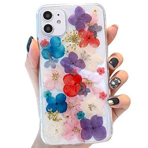 Tybiky iPhone 11 hoes droogbloemen hoes gemaakt van echte bloemen slank beschermend ontwerp, stootvast TPU frame, onsterfelijke bloemen case hoezen voor iPhone 11, paars rood wit blauw