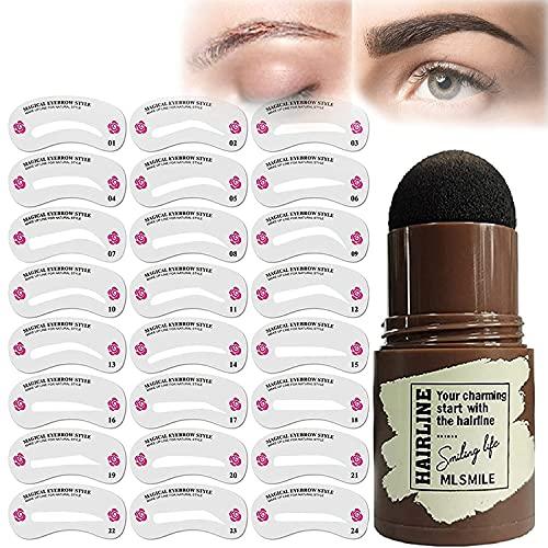 Kit de sellos de cejas, ajustables, impermeables, con diseño de cejas, con plantillas de cejas, herramientas de maquillaje para mujeres