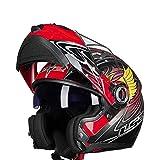 Mdsfe Casco da moto originale per uomo e donna con doppia visiera parasole, casco da moto modulare resistente ai raggi UV con visiera parasole interna - 14 X XXL