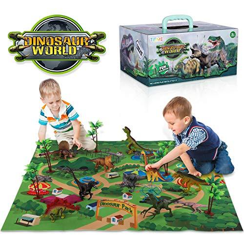TEMI Dinozaur figurka zabawka z aktywnością, mata do zabawy i drzewa, pedagogicznie realistyczny zestaw do zabawy z dinozaurami do stworzenia świata dinozaurów, z T-Rex, triceratopami, welocyraptor dla dzieci 3+