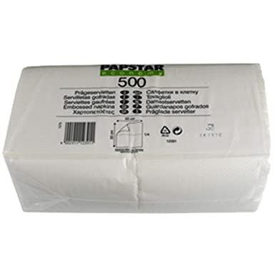 Papstar 12391 Servietten Tissue Weiß 33x33 Cm 500 Stück Küche Haushalt