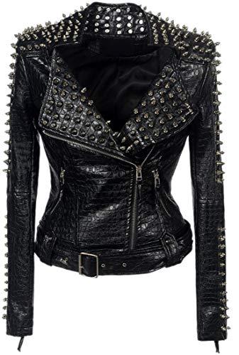 Abrigo de piel sintética con tachuelas y dobladillo asimétrico para mujer Negro Negro ( US XX-Large (Ropa)