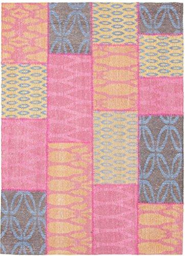 CarpetFine: Tapis Kilim Patchwork - 120x170 cm Jaune,Rose - Patchwork