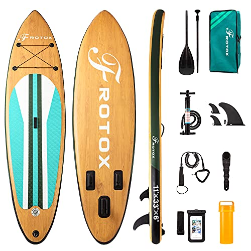 Inflatable Stand Up Paddle Board, 11'×33''×6''(6'' Thick) ISUP Non-Slip Deck,Bottom Fin for Paddling, Surf Control with...