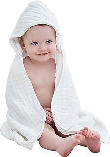 حوله حمام کودک دار 32x32in حوله بزرگ حمام 100٪ پنبه ماسلین 6 لایه برای دختران پسر نرم