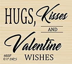 Hugs Kisses Valentine Wishes Greeting Rubber Stamp by DRS Designs Rubber Stamps
