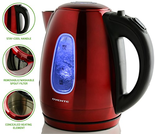 Ovente Electric Kettle 1.7 Liter Stainless Steel with Concealed Heating Element and Boil Dry Protection, 1100 Watt Fast Heating, LED Indicator Light, Perfect for Coffee, Tea and More, Red (KS96R)
