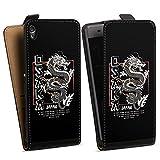 DeinDesign Étui Compatible avec Sony Xperia XA Étui à Rabat Étui magnétique Japon Dragon Mer