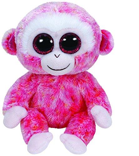 TY 36122 - Ruby Affe rosa glitzernde Ohrmuscheln mit Glitzeraugen, Glubschi's, Beanie Boo's, 15 cm, rot/weiß