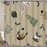 KGSPK Duschvorhang,Weihnachtshintergr& Pelzbäume Dekorationen Kuchen Hirsch,Wasserfeste Bad Vorhang aus Polyestergewebe mit 12 Haken Duschvorhang 180x180cm