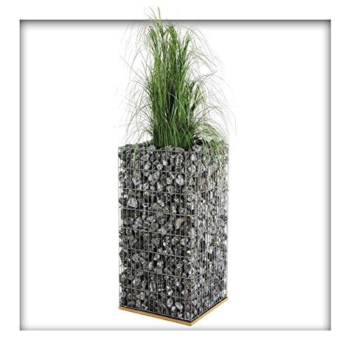 bellissa Gabionen Pflanzsäule inkl. Bewässerungssystem Hochbeet Steinkorb Pflanztopf 40 x 40 x 80 cm