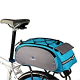 Meanhoo Bike Rear Rack Bag for Cycling, 1Pcs Bicycle Back Seat Saddle Bags Cooler Frame Trunk Pannier Rear Basket Handbag for Cycling, Hiking, Camping, Trekking, Blue