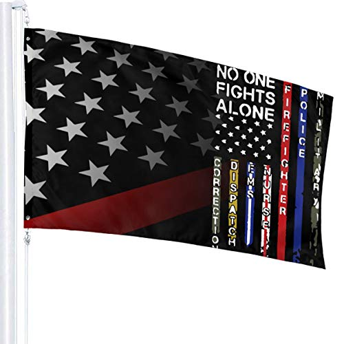 JpnvxiE No One Fights Alone First Responders Flag 3x5 Fit Durable for Patio Yard Garden Lawn Cute Funny Individuality Home Dorm Room Outdoor Decor Welcome Sign for Festival Gala Holiday Ceremony