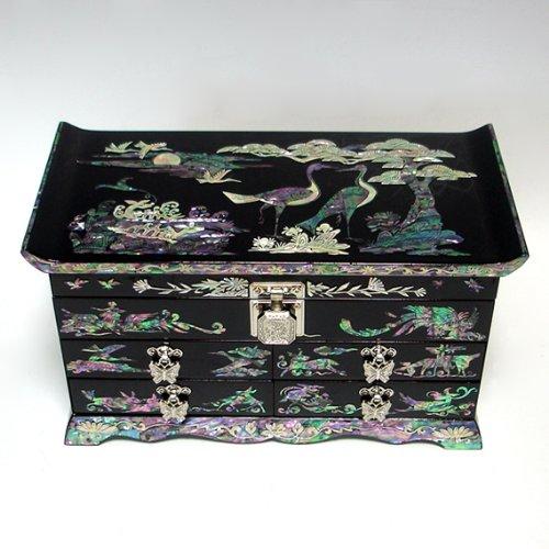 Antique Alive Jewellery Box Nacre Motif Animaux de durée de Vie incrustés laqué Noir en Bois fabriqué à la Main Miroir tiroir Boîte à Bijoux Souvenir Boîte à trésors Bague Coque Organiseur de Coffre