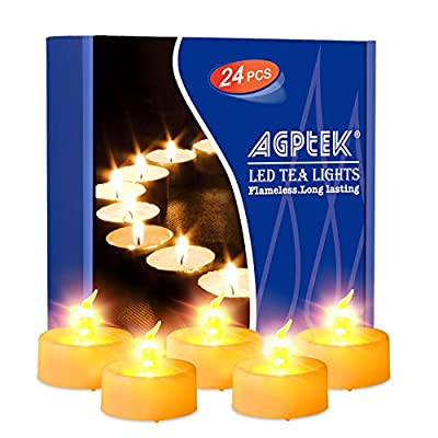 AGPTEK Timer Tea Lights with Flicker,24 Pack Timer Flickering Flameless LED Candles Battery Operated Tealight Candles with Auto On/Off Long Lasting Tealight for Wedding Holiday Party Home Decoration