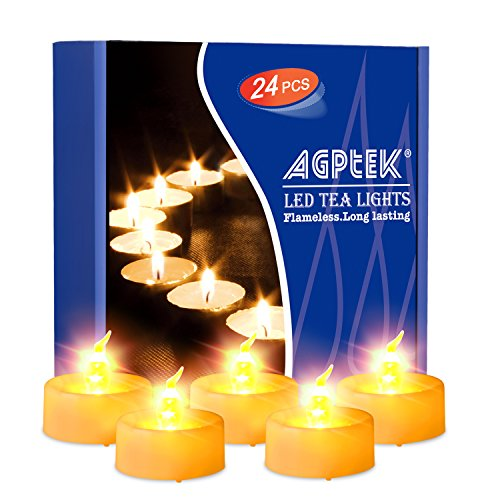AGPtEK Timer Flickering Flameless LED Candles Battery-Operated Tealights for Wedding Holiday Party Home Decoration 24pcs(Amber Yellow)