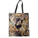 Coloranimal Big Shopping Bag for Women Ladies College Animal Cat Pattern Linen Tote Bags Eco Friendly Reusable Handbags Travel Hiking Walking Shoulder Purse
