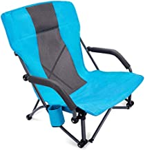 G4Free Low Beach Camping Folding Chair with Armrests, Ultralight Backpacking Chair with Cup Holder, for Camping Concert Lawn with Carry Bag (Blue)