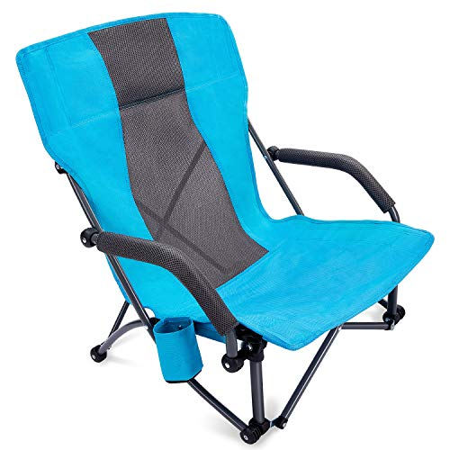 G4Free Silla plegable de camping con reposabrazos, silla ultraligera con soporte para tazas, para camping, concierto césped con bolsa de transporte (azul)