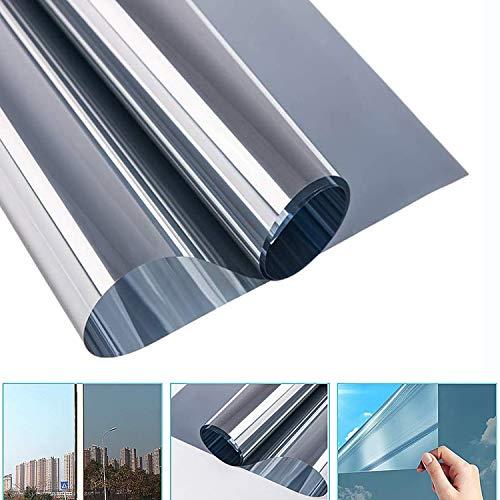 All--In Sonnenfolie Fensterfolie Selbsthaftend Sichtschutzfolie Anti-UV Spiegelfolie Statische Wärmeisolierung Fenster Schutzfolie 60 x 200cm, Silber