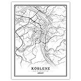 ZWXDMY Leinwand Bild,Deutschland Koblenz Stadtplan Schwarz