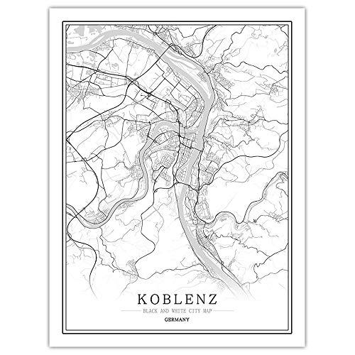 YUAN Leinwand Bild,Deutschland Koblenz Stadtplan Schwarz Weiß Einfache Minimalistische Kunst Wandplakat Rahmenloses Bild, Moderne Vertikale Malerei Cafe Office Home Decor20*30cm