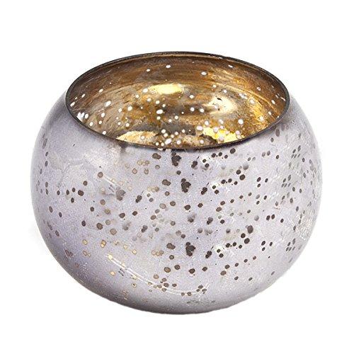 Insideretail-Portacandela tealight Rotondo, in Vetro, Colore: Carbone, 6 x 6 cm, Confezione da 48