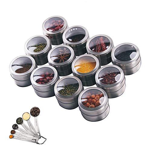 Hovome 12Magnetic Spice Tins Setステンレススチール収納スパイスコンテナー冷蔵庫磁気スパイスジャーラックオーガナイザーキッチンツール調理器具キッチンガジェット