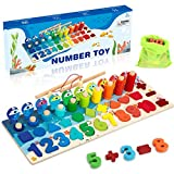 Wooden Number Puzzle Sorting Montessori Toys for Toddlers - Shape Sorter Counting Fishing Game for Age 2 3 4 5 Year olds Kids - Preschool Educational Math Stacking Block Learning Wood Chunky Jigsaw