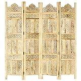 vidaXL Madera Maciza Mango Biombo 4 Paneles Tallado a Mano Divisor Pantalla Separador Dormitorio Salón Oficina Despacho Sala de Estar Decoración