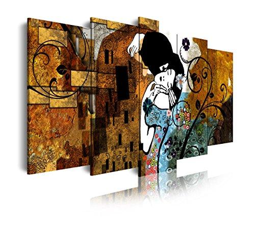 DekoArte Cuadros Modernos Impresión de Imagen Artística Digitalizada, Lienzo Decorativo para Tu Salón o Dormitorio, Estilo Abstractos Arte Gustav Klimt El Beso, Multi bronces, 5 piezas (150x80x3cm)