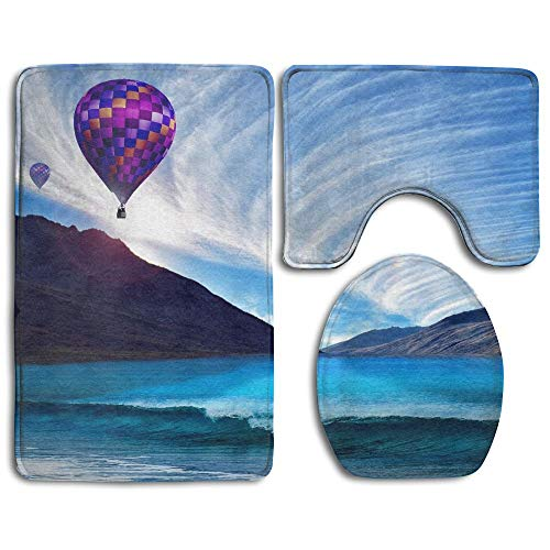 GGdjst 3 Piezas Juego de Alfombra de Baño, Sea Cloud Balloon Wave Home Set of 3 Soft Bath Rug Non-Slip Bathroom Shower Mat