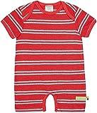 loud + proud Unisex Baby Spieler Streifen mit Leinen, GOTS Zertifiziert Strampelhose, Chili, 86/92
