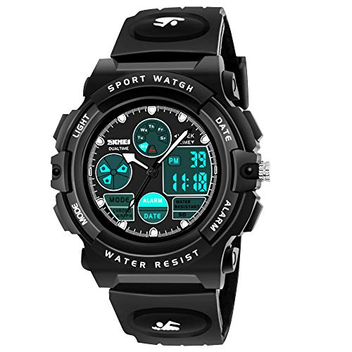 SOKY for 6-15 Year Old Girls, LED 50M Waterproof Digital Watches Gifts for Teen Boys Outdoor Toys for 7-8 Year Old Teenage Boys Girls 8-15 Year Old Boy Xmas Gifts Stocking Stuffers Black SKUSW07