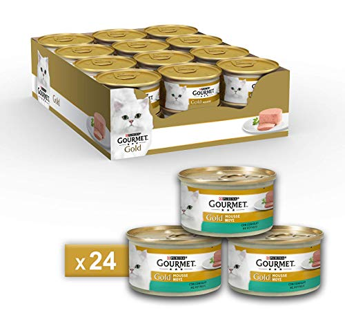 Purina Gourmet Gold Húmedo Gato Mousse con Conejo, 24 latas de 85 g Cada una de Las 24 Unidades de 85 g