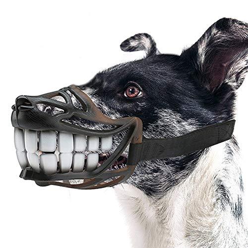 Bozales para perros Traje ajustable del hocico del perro con correa superior para perros pequeños, medianos y grandes adicionales, evitar el despegue, morder y masticar negro, (circunferencia de