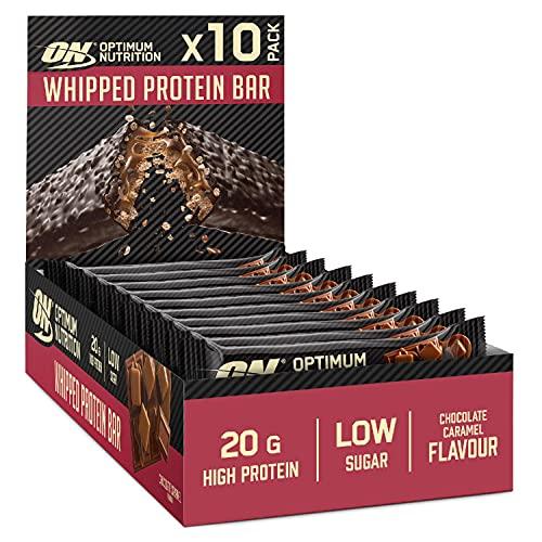 Optimum Nutrition ON Whipped Bar, Barretta Proteica Ricoperta di Cioccolato al Latte, Basso Contenuto di Zuccheri, Caramello al Cioccolato, 10 Barrete (10 x 60 g)