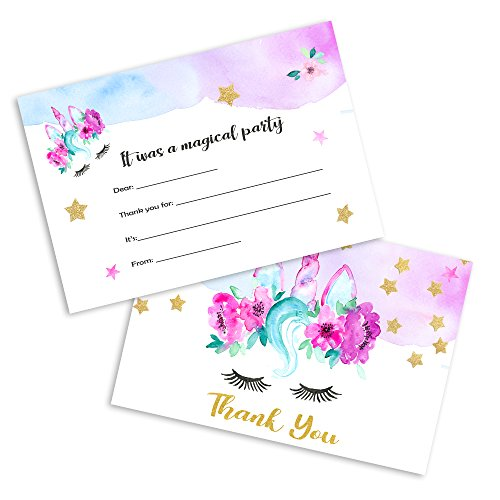 TINSELBOX Magical Unicorn Thank You Cards - 12 Cards + 12 Envelopes - Double Sided - Watercolor with Digital Gold