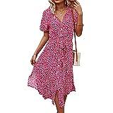 emperstar abiti lunghi da donna abito bohémien con stampa scollo a v abito longuette manica corta abiti da spiaggia abiti estivi (rosso+s)