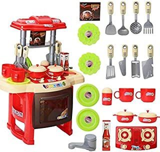 DUSANER Quality goods Children's Play House Toys Kitchen Tableware Lighting Music Simulation Kitchenware Educational Toys Boutique light up life (Color : Red)