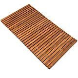 Deuba Badvorleger Badematte Badvorleger Holz 80 x 50 cm FSC®-zertifiziertes Akazienholz Rutschhemmende Gummistopper