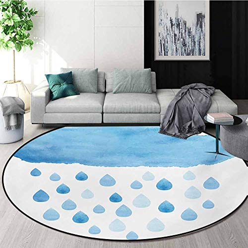 Check Out This RUGSMAT Nature Round Area Rug,Rain Drops and Cloud in Watercolor Painting Effect Cute...
