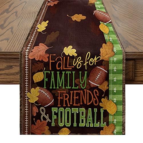 Artoid Mode Football Table Runner, Seasonal Fall Harvest Vintage Thanksgiving Kitchen Dining Table Decoration for Indoor…