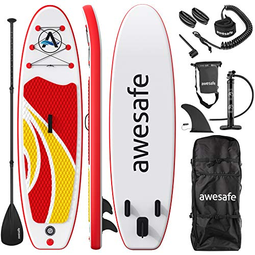 awesafe Inflatable Stand Up Paddle Board with Premium SUP/ISUP Accessories Including Backpack, Bottom Fin for Paddling, Paddle, Non-Slip Deck, Hand Pump, Leash