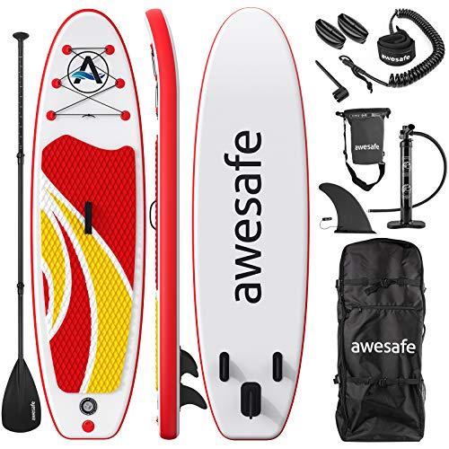 awesafe Aufblasbares Stand Up Paddle Board mit Premium SUP/ISUP Zubehör inkl. Rucksack, Bodenflosse zum Paddeln, Paddeln, Rutschfestes Deck, Handpumpe, Leine