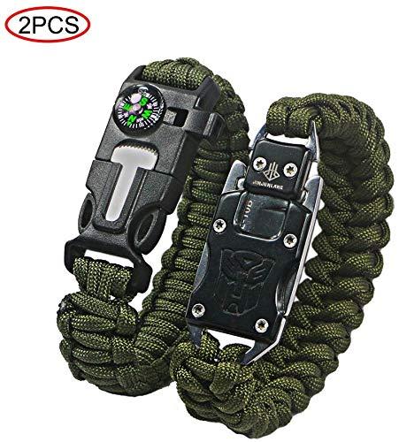 Paracord-Armband, multifunktionales Outdoor-Survival-Armband, Feuerstarter, Kompass, Notfallpfeife und Messer, Schaber, Rettungsseil, Wandern und Reisen.