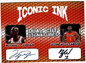 MIchael Jordan Zion Williamson Iconic Ink Dual Cut Signatures Facsimile Auto - Basketball Card
