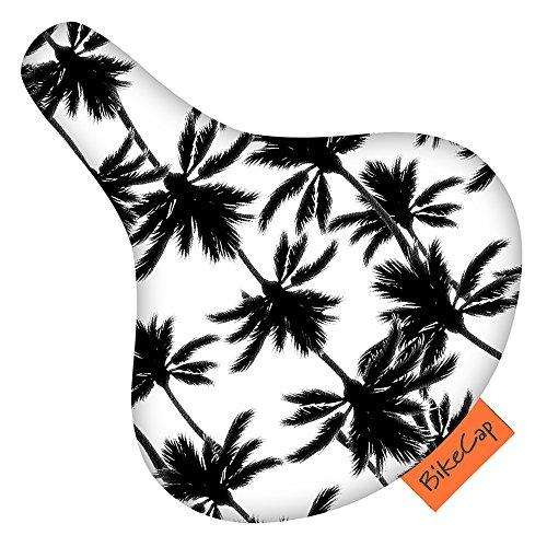 BikeCap Bike Seat Cover Tropical Tree Fahrradsitzbezug, Schwarz/Weiß, Größe L, L