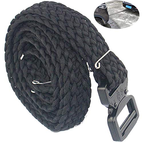 Daarcin Tactical Paracord Belt,Adjustable Paracord Woven Belt with V-Ring Heavy-Duty Quick-Release Buckle