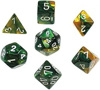Chessex 26425CHX Gemini Polyhedral Gold-Green/White 7-Die Set